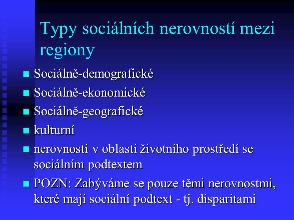 Typy sociálních nerovností mezi regiony