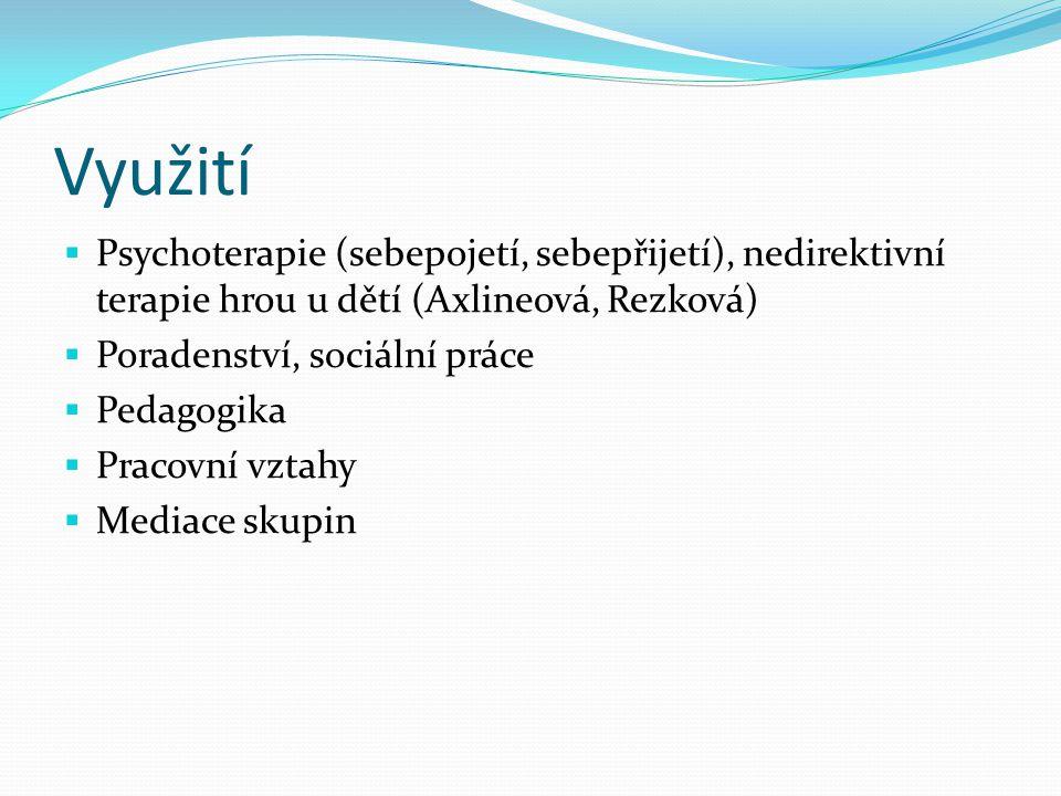 Využití Psychoterapie (sebepojetí, sebepřijetí), nedirektivní terapie hrou u dětí (Axlineová, Rezková)