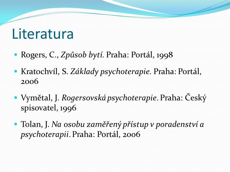 Literatura Rogers, C., Způsob bytí. Praha: Portál, 1998