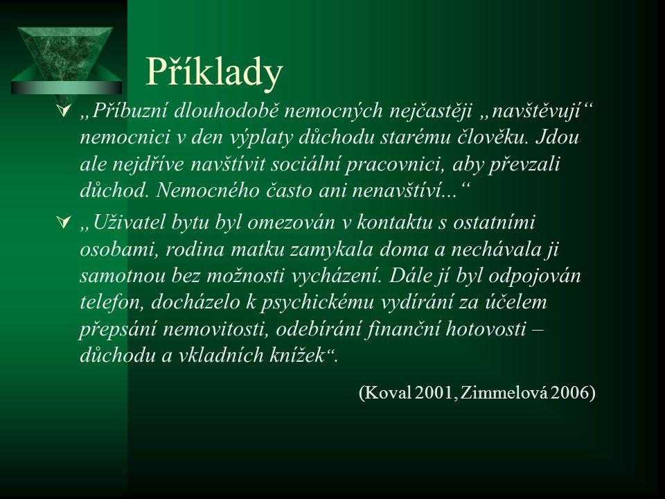 Příklady (Koval 2001, Zimmelová 2006)