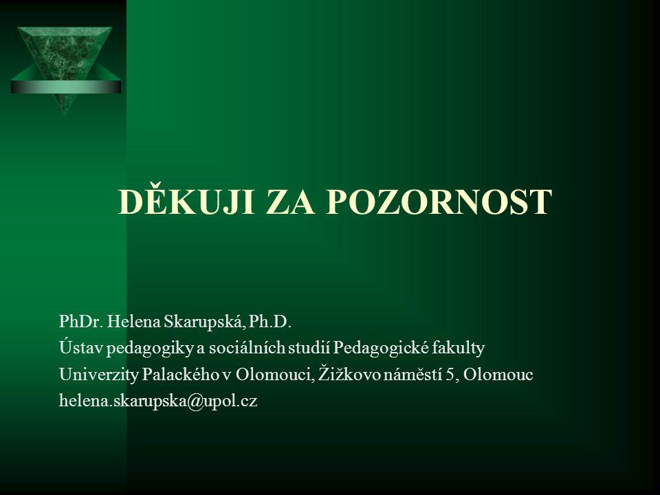 Děkuji za pozornost PhDr. Helena Skarupská, Ph.D.