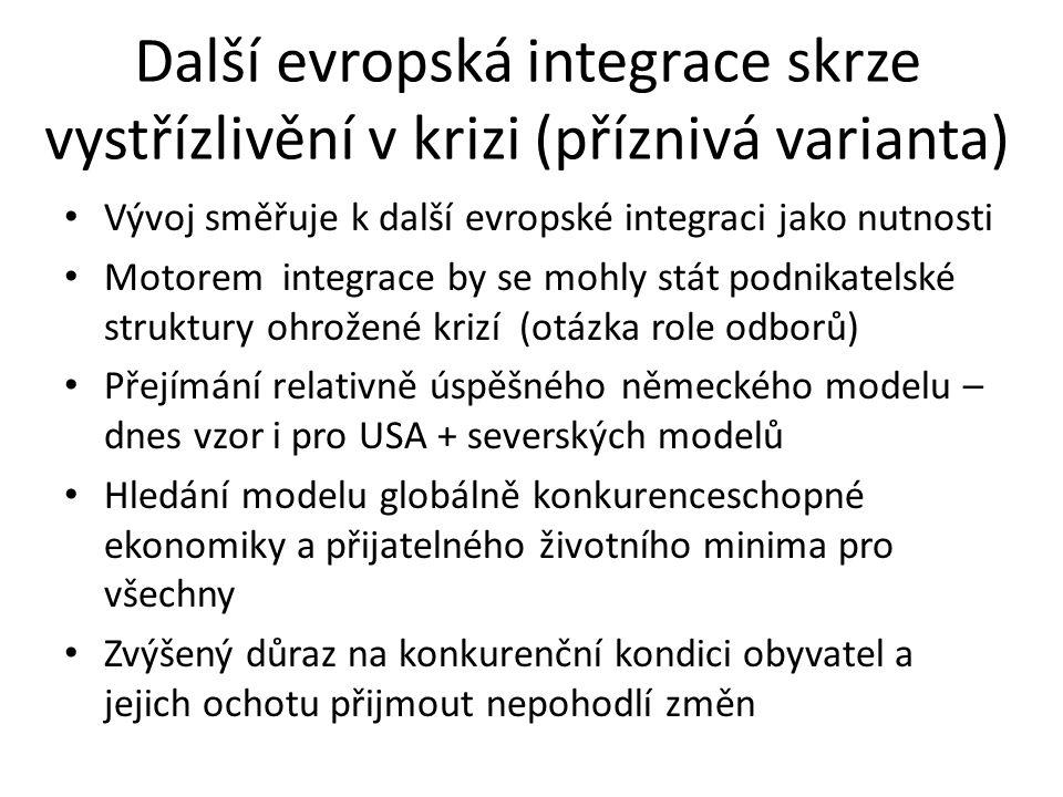 Další evropská integrace skrze vystřízlivění v krizi (příznivá varianta)