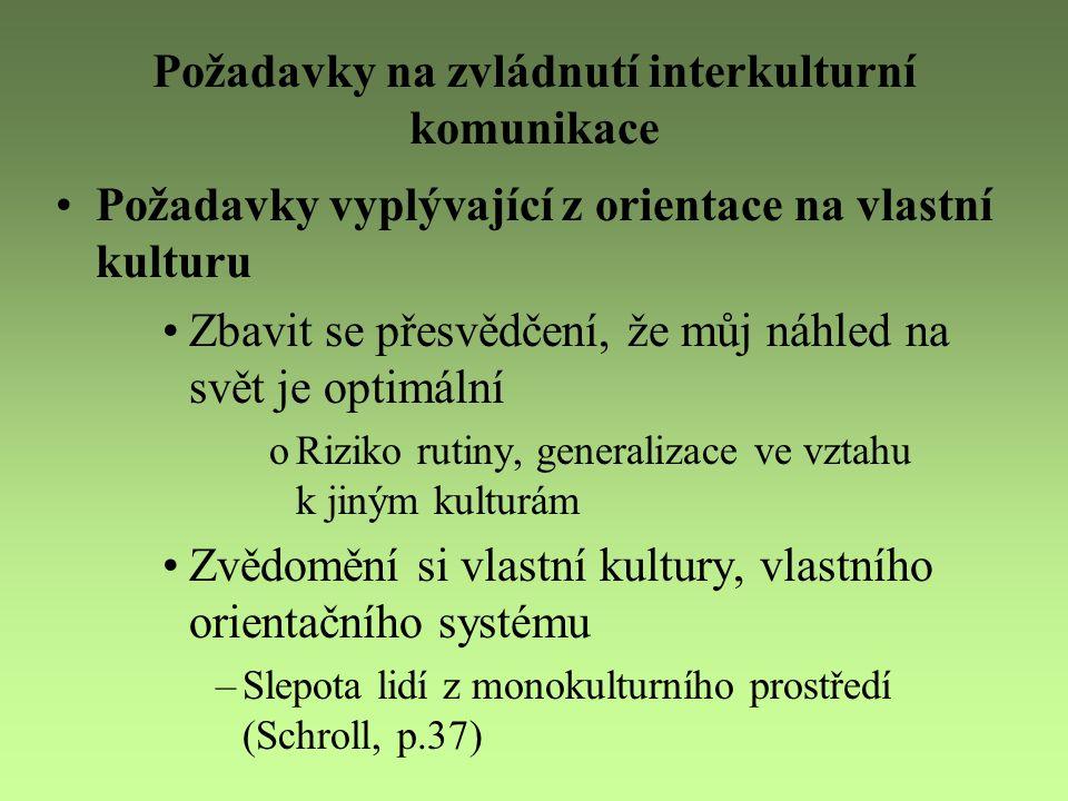 Požadavky na zvládnutí interkulturní komunikace