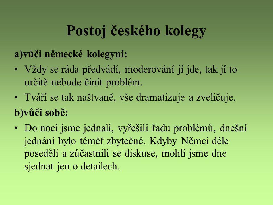 Postoj českého kolegy a)vůči německé kolegyni: