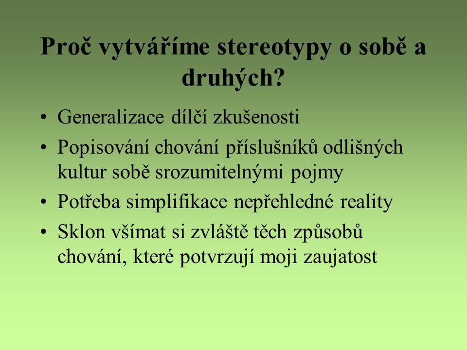 Proč vytváříme stereotypy o sobě a druhých
