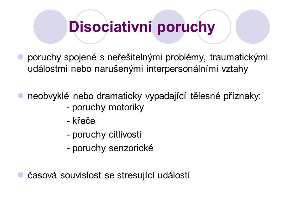 Disociativní poruchy poruchy spojené s neřešitelnými problémy, traumatickými událostmi nebo narušenými interpersonálními vztahy.