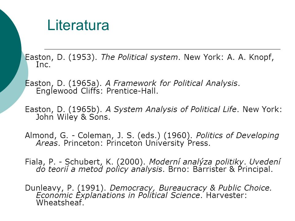 Literatura Easton, D. (1953). The Political system. New York: A. A. Knopf, Inc.