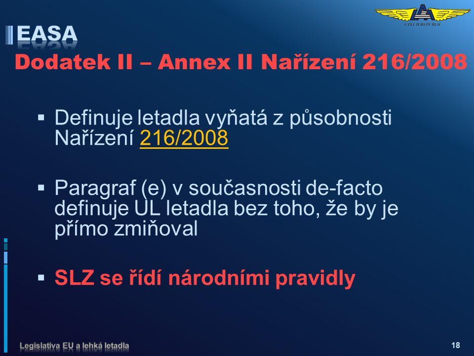 Dodatek II – Annex II Nařízení 216/2008