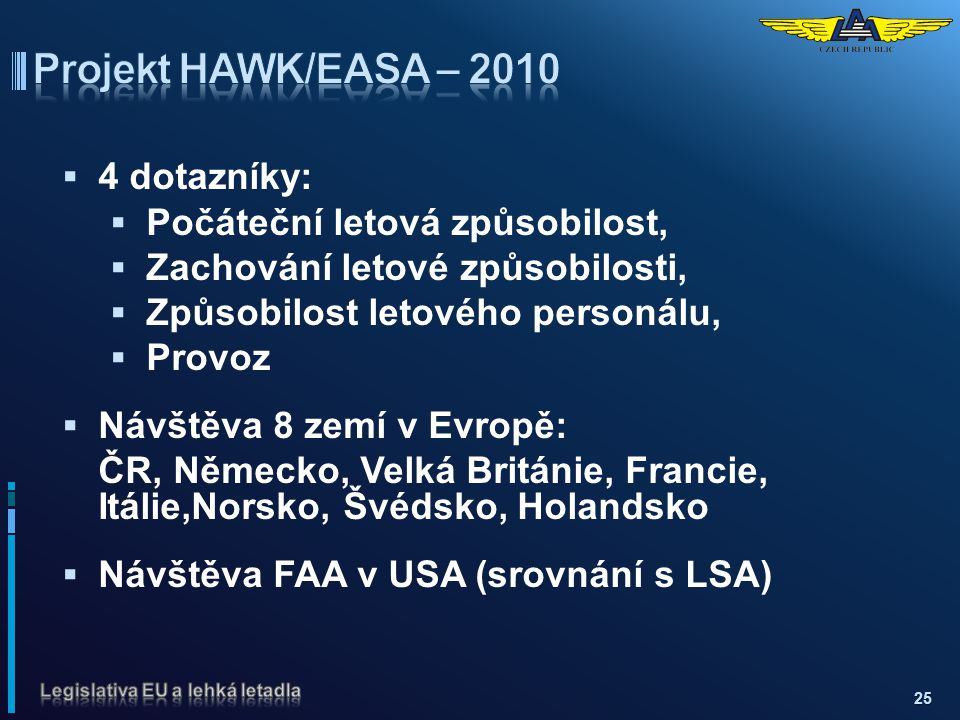 Projekt HAWK/EASA – 2010 4 dotazníky: Počáteční letová způsobilost,