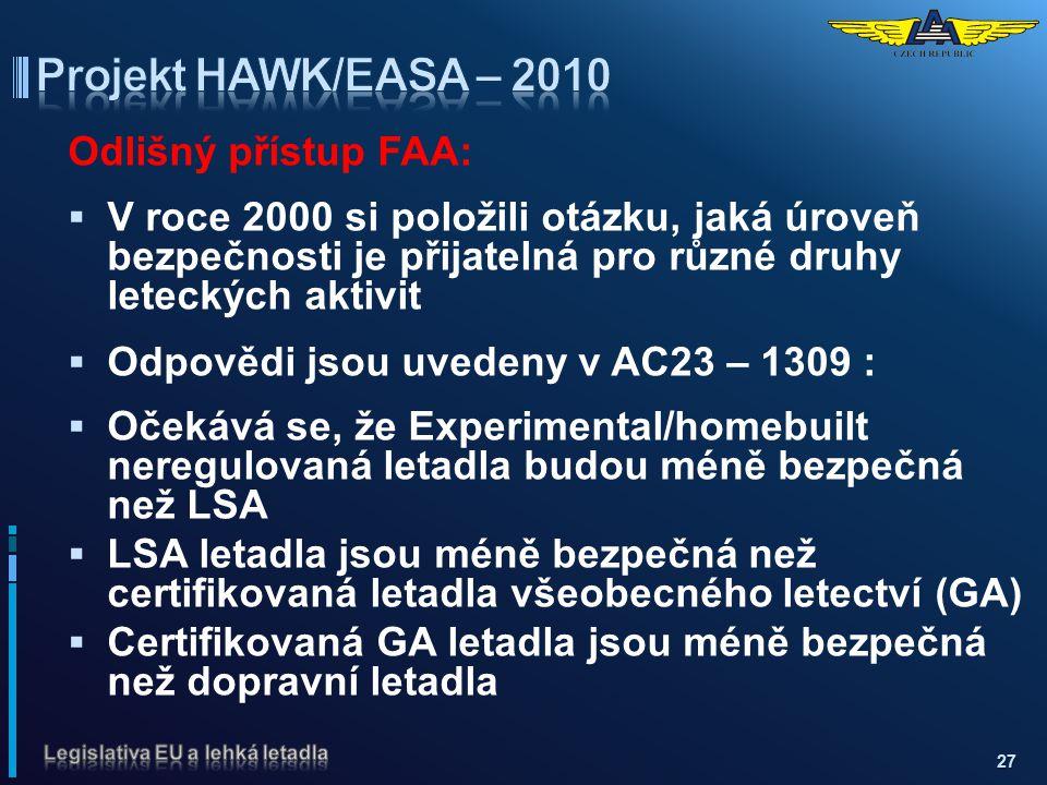 Projekt HAWK/EASA – 2010 Odlišný přístup FAA: