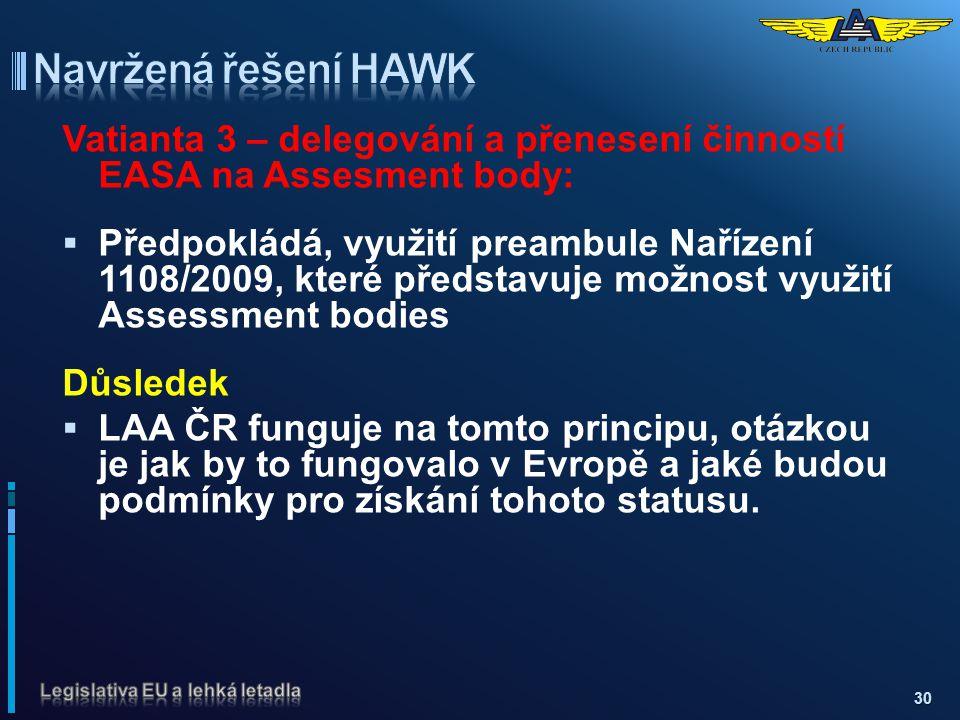 Navržená řešení HAWK Vatianta 3 – delegování a přenesení činností EASA na Assesment body: