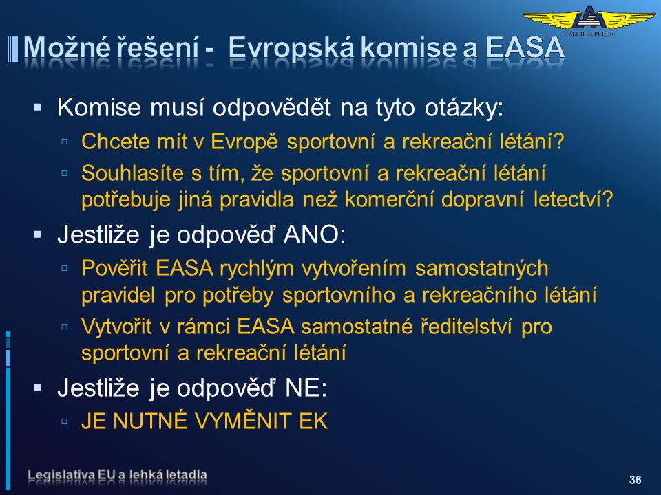Možné řešení - Evropská komise a EASA