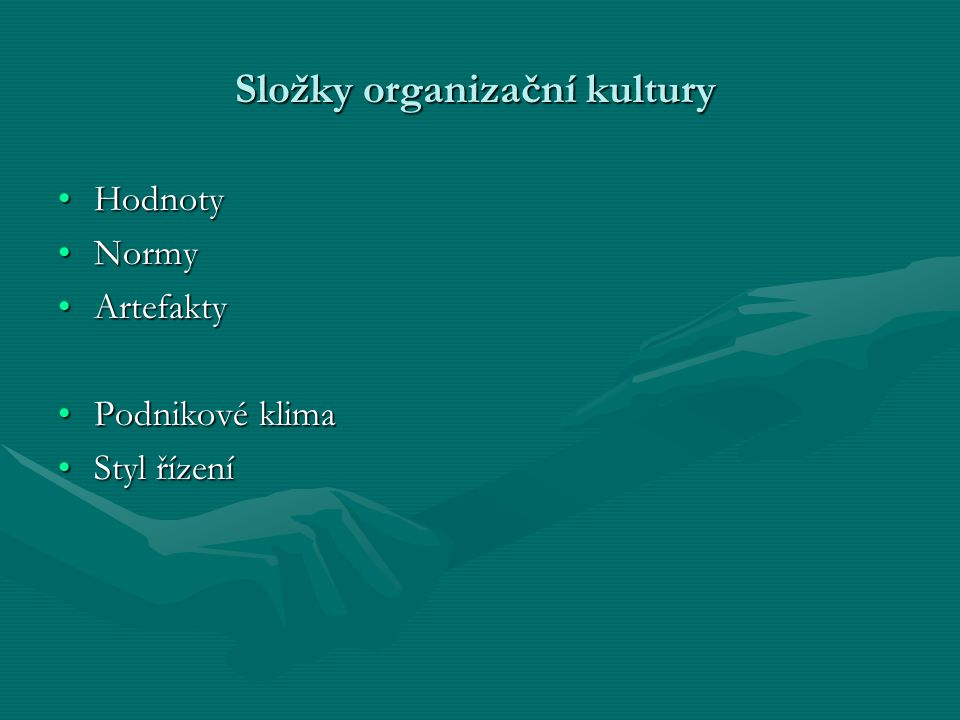 Složky organizační kultury
