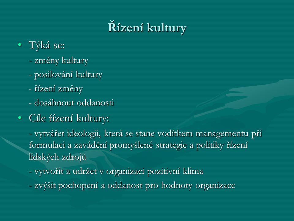 Řízení kultury Týká se: Cíle řízení kultury: - změny kultury