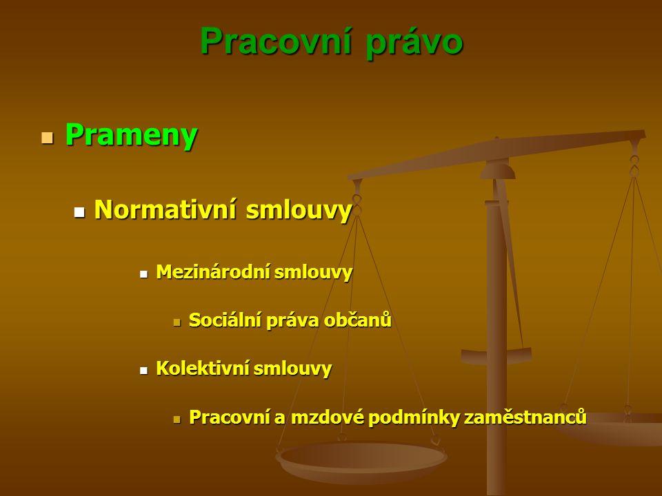 Pracovní právo Prameny Normativní smlouvy Mezinárodní smlouvy