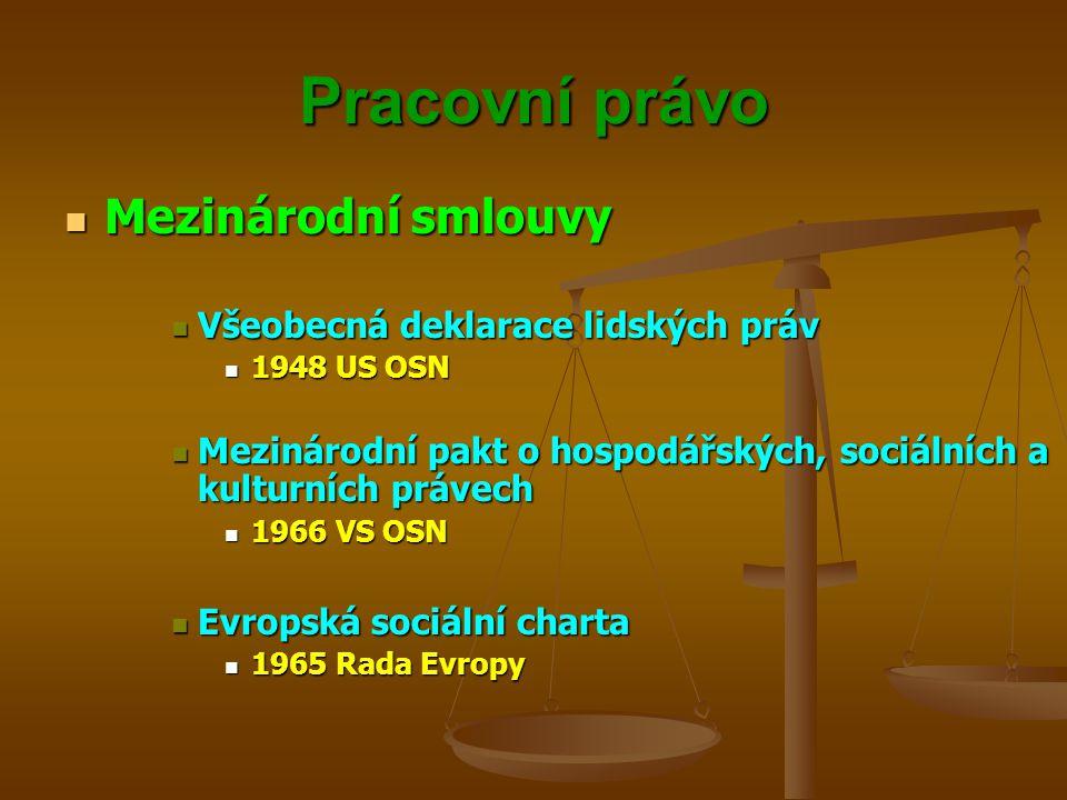 Pracovní právo Mezinárodní smlouvy Všeobecná deklarace lidských práv