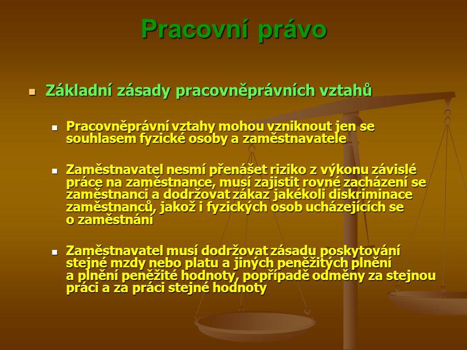 Pracovní právo Základní zásady pracovněprávních vztahů