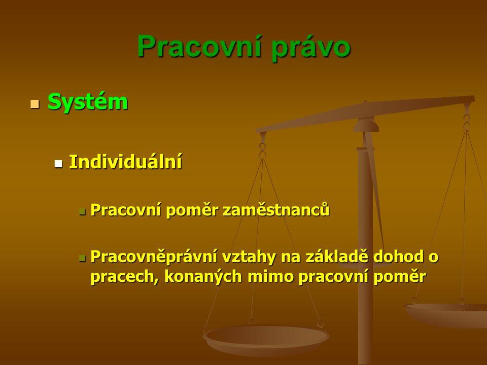 Pracovní právo Systém Individuální Pracovní poměr zaměstnanců