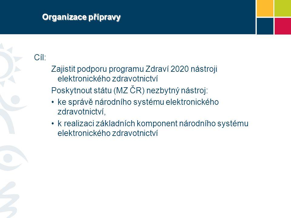 Organizace přípravy Cíl: Zajistit podporu programu Zdraví 2020 nástroji elektronického zdravotnictví.