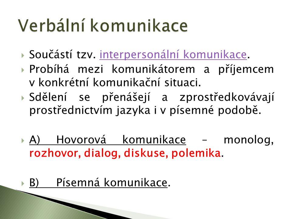 Verbální komunikace Součástí tzv. interpersonální komunikace.