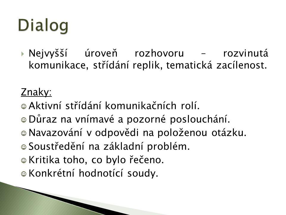 Dialog Nejvyšší úroveň rozhovoru – rozvinutá komunikace, střídání replik, tematická zacílenost. Znaky:
