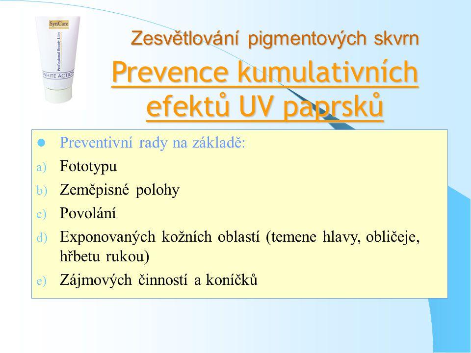 Prevence kumulativních efektů UV paprsků