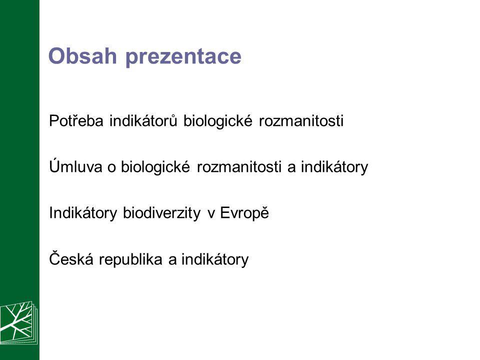 Obsah prezentace Potřeba indikátorů biologické rozmanitosti