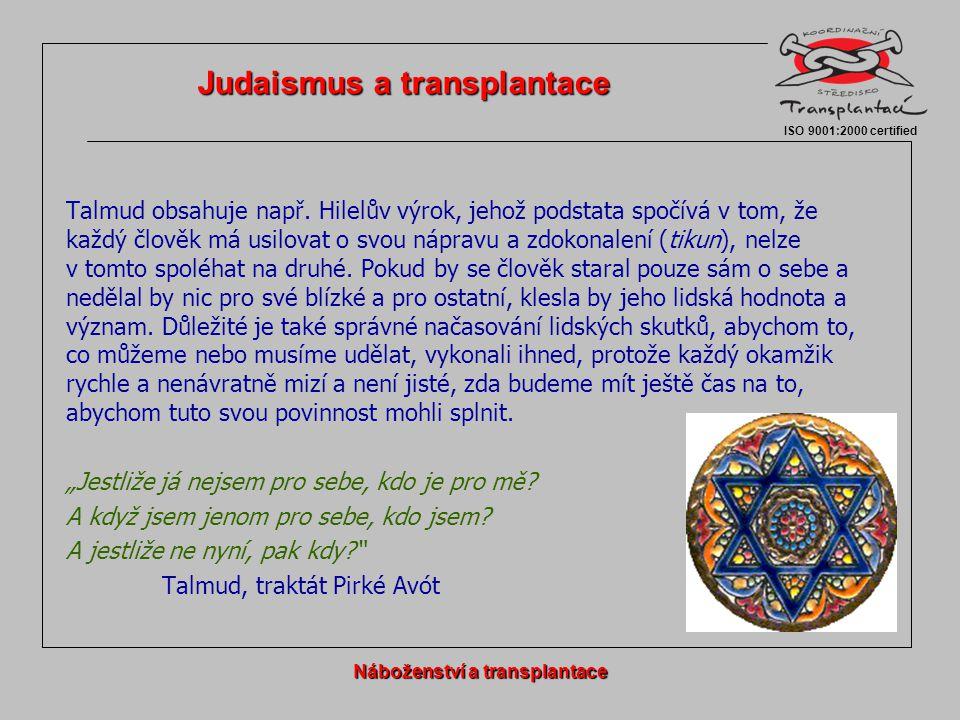 Judaismus a transplantace Náboženství a transplantace