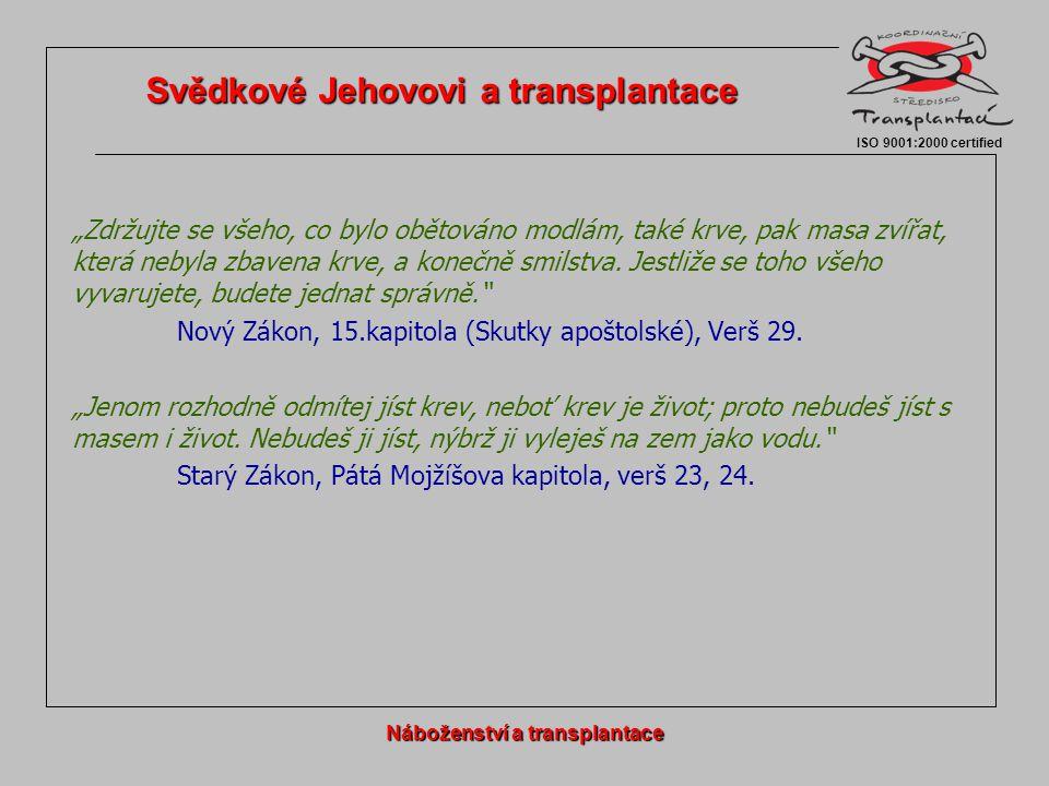 Svědkové Jehovovi a transplantace Náboženství a transplantace