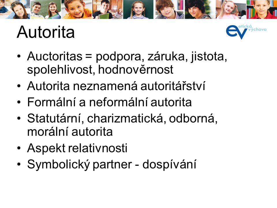 Autorita Auctoritas = podpora, záruka, jistota, spolehlivost, hodnověrnost. Autorita neznamená autoritářství.