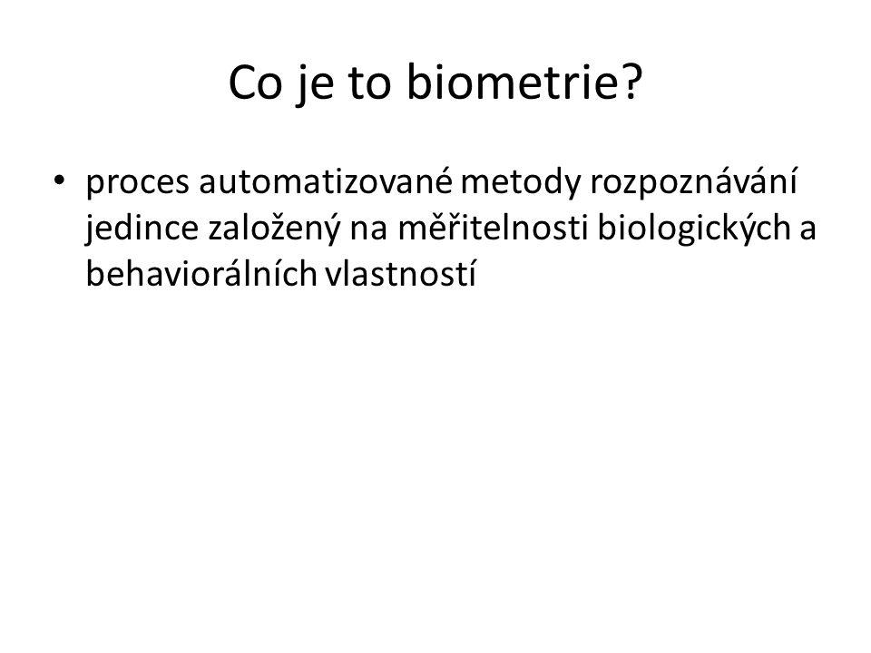 Co je to biometrie proces automatizované metody rozpoznávání jedince založený na měřitelnosti biologických a behaviorálních vlastností.