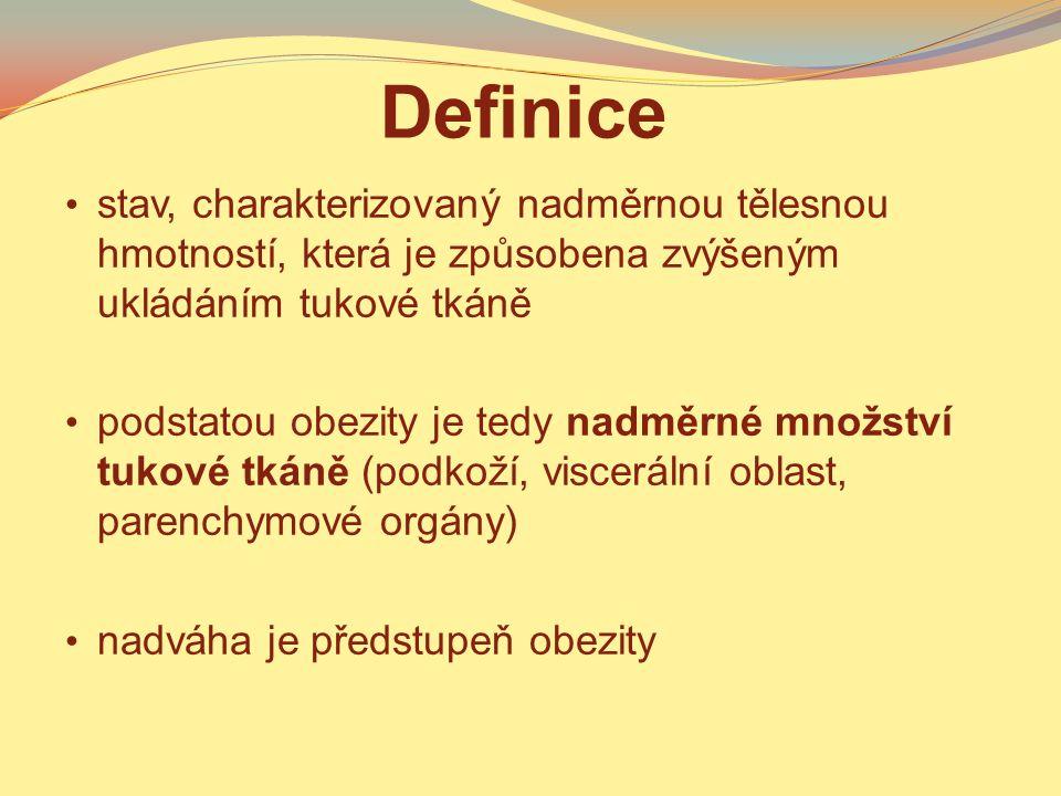 Definice stav, charakterizovaný nadměrnou tělesnou hmotností, která je způsobena zvýšeným ukládáním tukové tkáně.