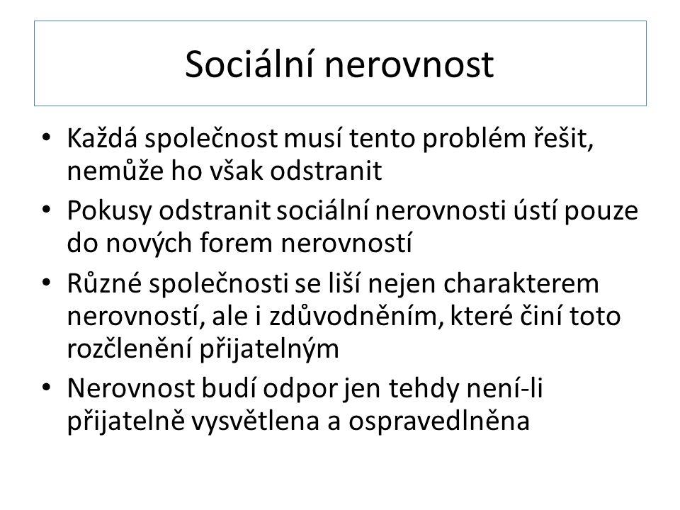 Sociální nerovnost Každá společnost musí tento problém řešit, nemůže ho však odstranit.