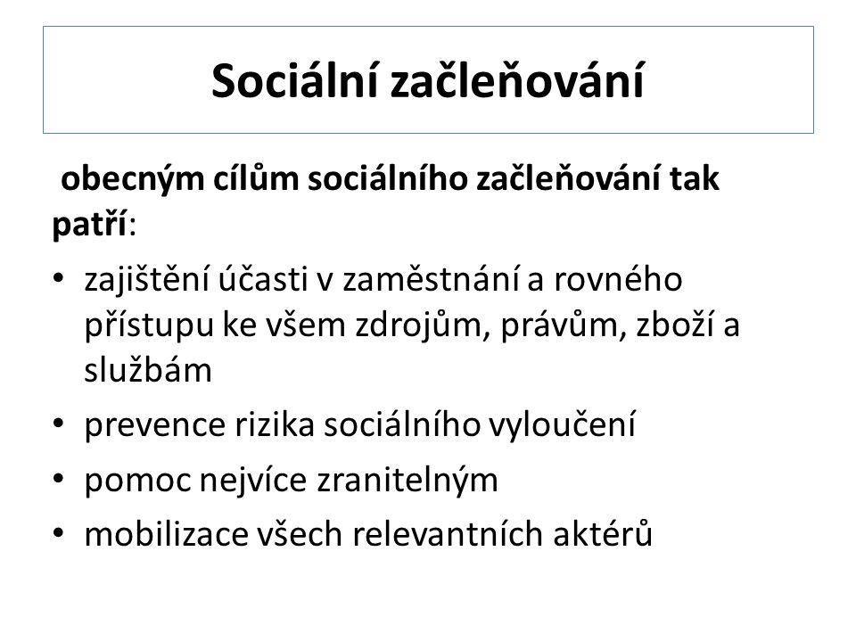 Sociální začleňování obecným cílům sociálního začleňování tak patří: