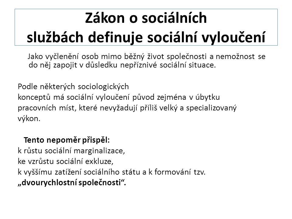 Zákon o sociálních službách definuje sociální vyloučení
