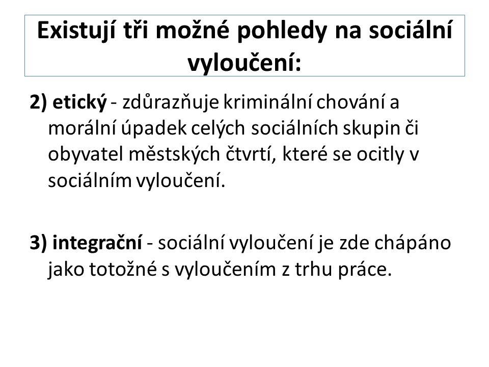 Existují tři možné pohledy na sociální vyloučení: