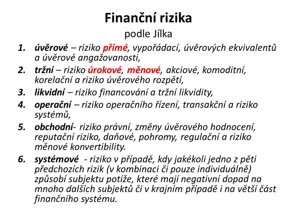 Finanční rizika podle Jílka