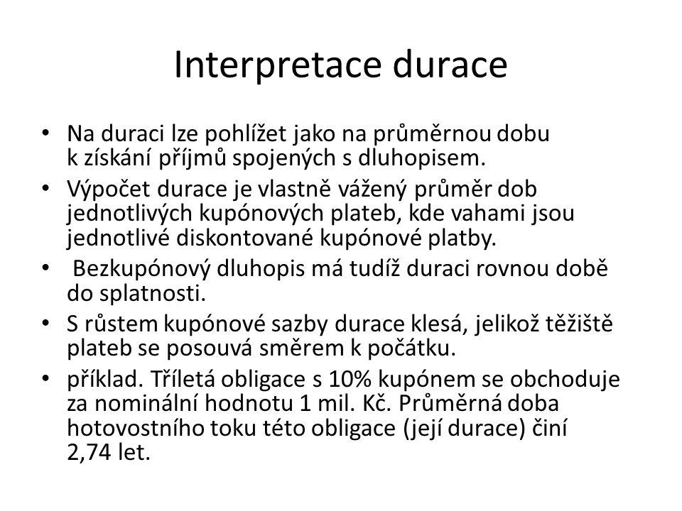 Interpretace durace Na duraci lze pohlížet jako na průměrnou dobu k získání příjmů spojených s dluhopisem.