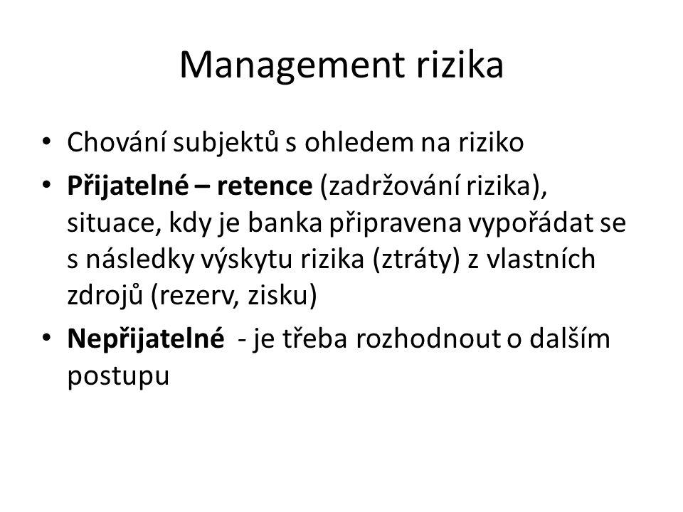 Management rizika Chování subjektů s ohledem na riziko