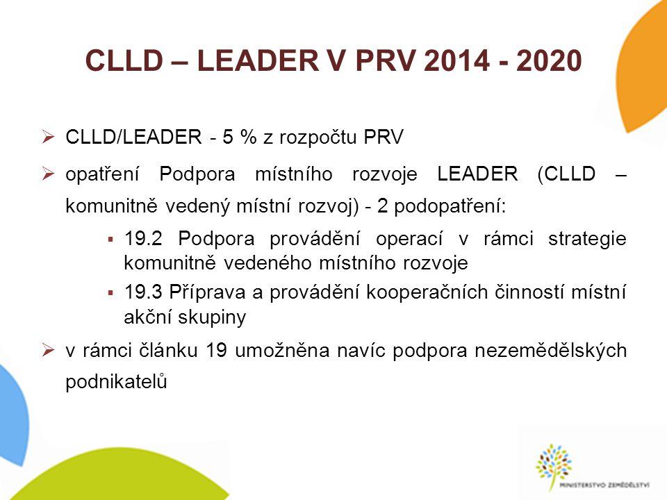 CLLD – LEADER V PRV 2014 - 2020 CLLD/LEADER - 5 % z rozpočtu PRV