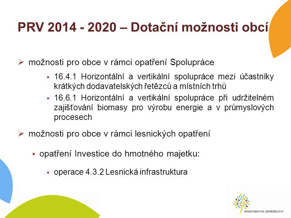 PRV 2014 - 2020 – Dotační možnosti obcí