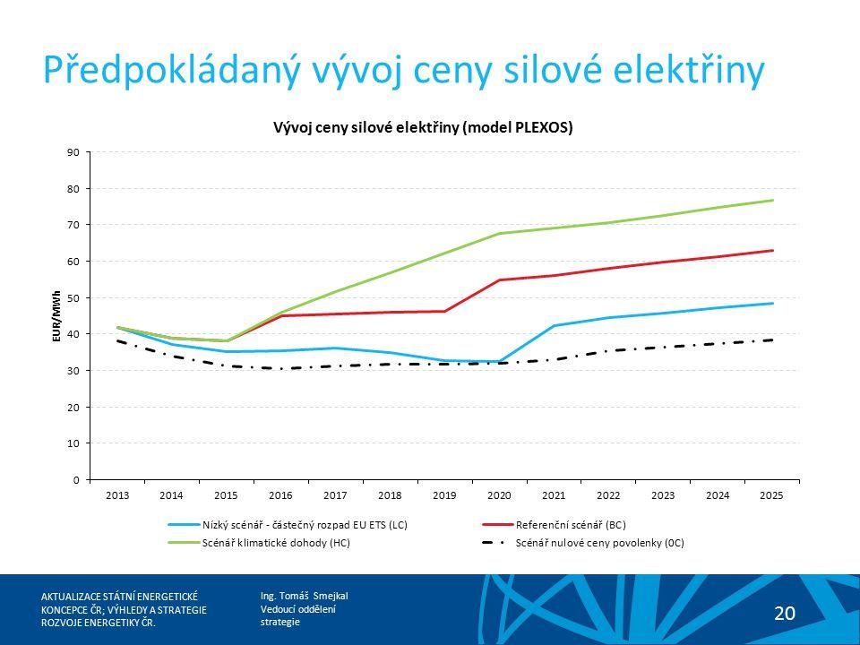 Předpokládaný vývoj ceny silové elektřiny
