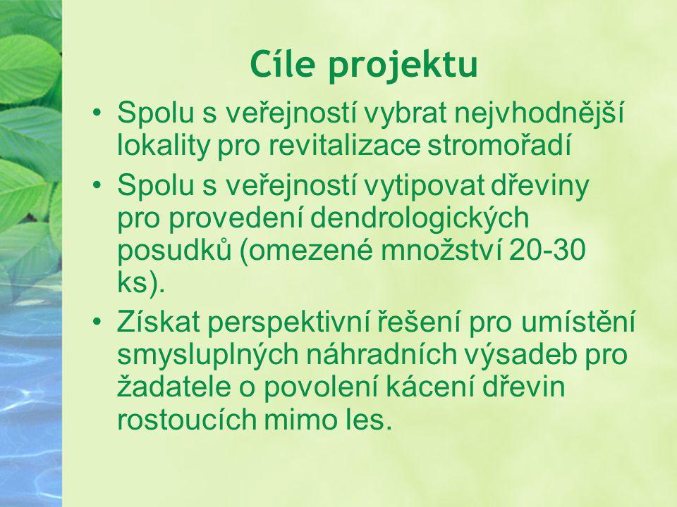 Cíle projektu Spolu s veřejností vybrat nejvhodnější lokality pro revitalizace stromořadí.