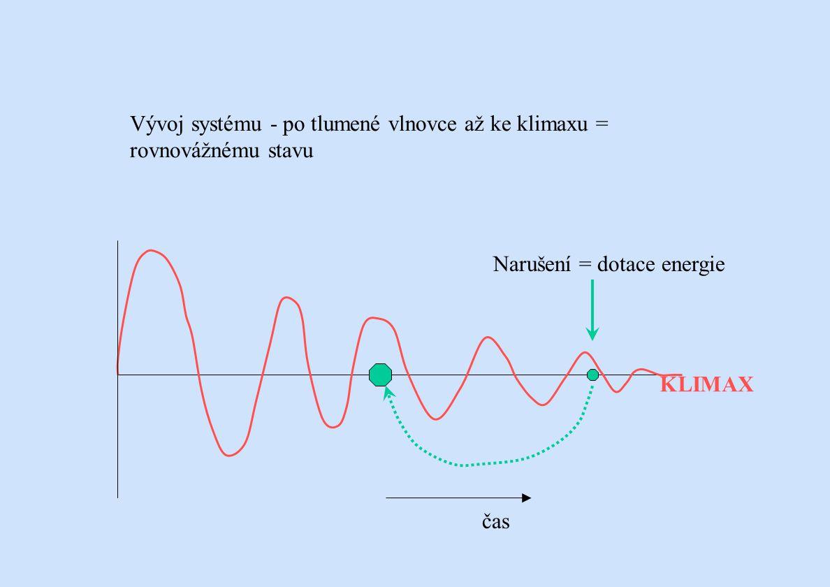 Vývoj systému - po tlumené vlnovce až ke klimaxu = rovnovážnému stavu