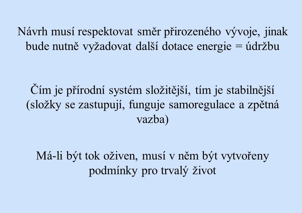 Návrh musí respektovat směr přirozeného vývoje, jinak bude nutně vyžadovat další dotace energie = údržbu
