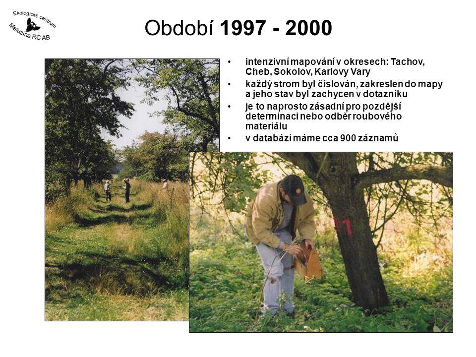 Období 1997 - 2000 intenzivní mapování v okresech: Tachov, Cheb, Sokolov, Karlovy Vary.