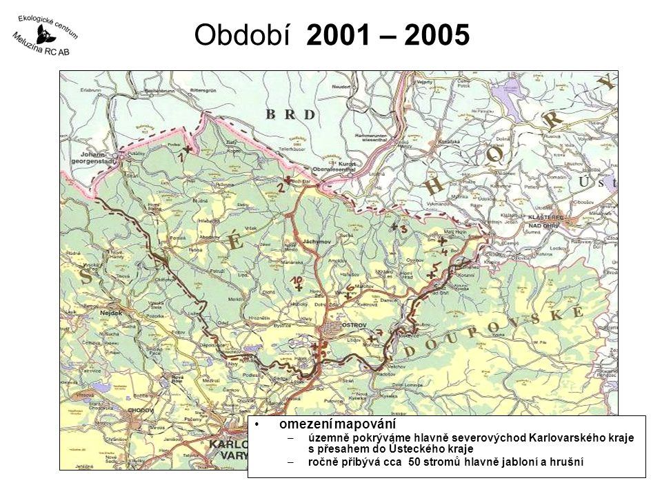 Období 2001 – 2005 omezení mapování