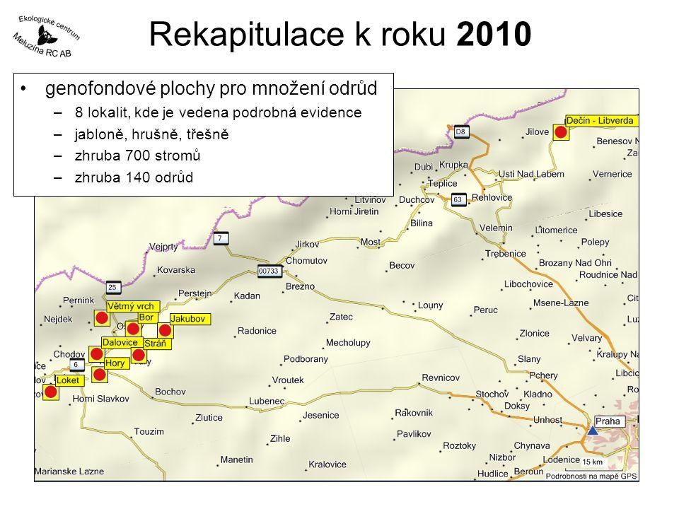 Rekapitulace k roku 2010 genofondové plochy pro množení odrůd