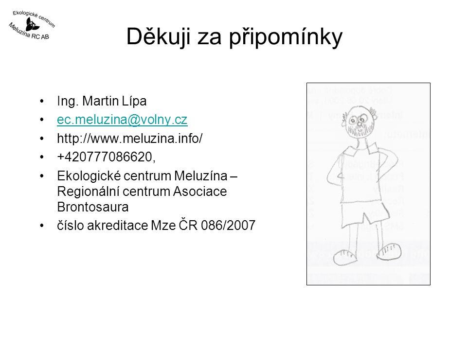 Děkuji za připomínky Ing. Martin Lípa ec.meluzina@volny.cz