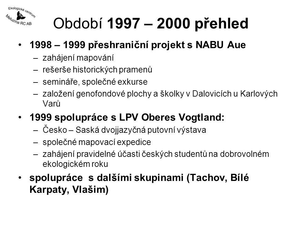 Období 1997 – 2000 přehled 1998 – 1999 přeshraniční projekt s NABU Aue